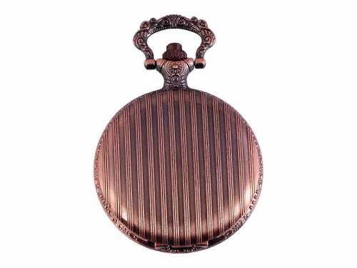Savonette-Taschenuhr kupferfarben Vintage Ziffernblatt weiß (*SH*TU*) - Bild vergrößern