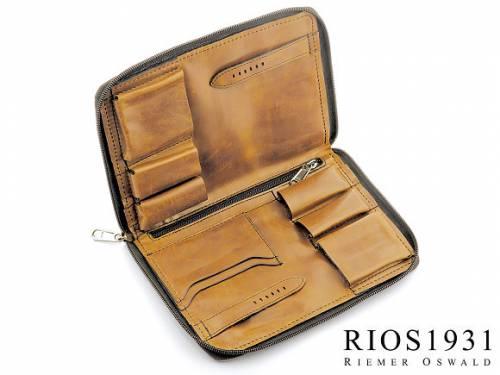 Uhrenreisemappe -Carlo- hellbraun echt Leder Vintage-Look für  Armbanduhren von RIOS - Bild vergrößern