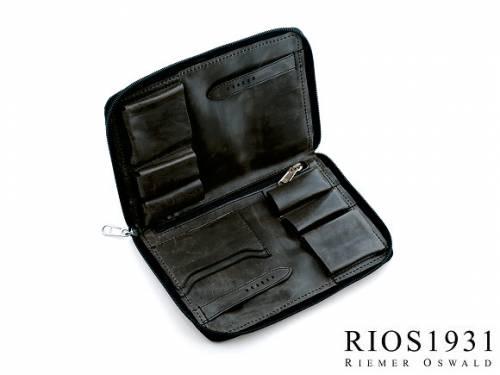 Uhrenreisemappe -Carlo- schwarz echt Leder Vintage-Look für  Armbanduhren von RIOS - Bild vergrößern