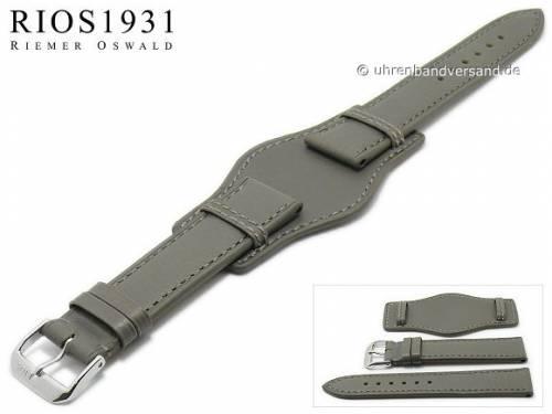 Uhrenarmband -Tula- 18mm grau Juchtenleder mit Lederunterlage von RIOS (Schließenanstoß 16 mm) - Bild vergrößern
