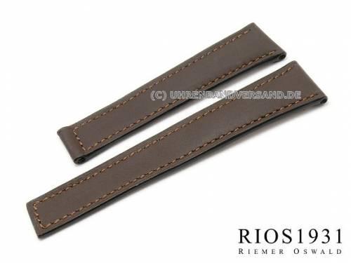 Uhrenarmband -Vision- 20mm dunkelbraun Juchtenleder für Faltschließe RIOS (Schließenanstoß 16 mm) - Bild vergrößern