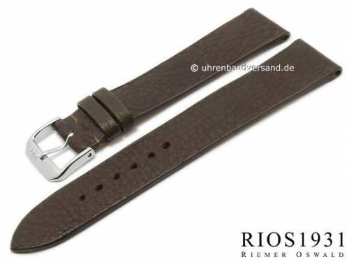 BIO-Leder: Uhrenarmband -Kempten- 20mm dunkelbraun genarbt rustikale Optik von RIOS (Schließenanstoß 18 mm) - Bild vergrößern
