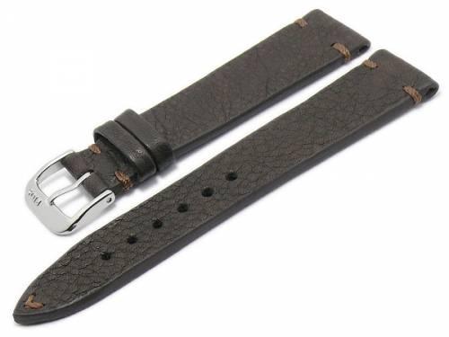 BIO-Leder: Uhrenarmband -Mittenwald- 19mm dunkelbraun genarbt rustikale Optik abgenäht von RIOS (Schließenanstoß 16 mm) - Bild vergrößern