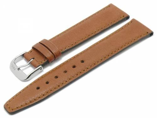 BIO-Leder: Uhrenarmband -Füssen- 19mm hellbraun genarbt matt abgenäht von RIOS (Schließenanstoß 16 mm) - Bild vergrößern