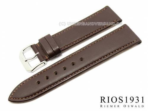 Uhrenarmband -Toscana-  20mm dunkelbraun Kalbleder glatt abgenäht von RIOS (Schließenanstoß 18 mm) - Bild vergrößern