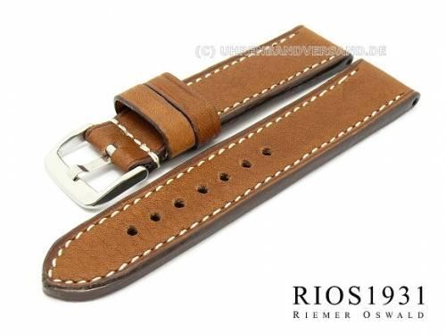 Uhrarmband -Oxford- 22mm braun RIOS hochwertiges Leder glatt helle Naht (Schließenanstoß 22 mm) - Bild vergrößern