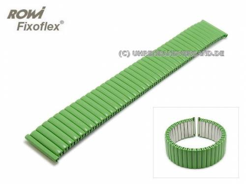 Uhrenarmband Fixoflex S Zugband 18mm Edelstahl matt grün von ROWI - Bild vergrößern