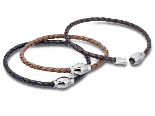 3er Set Schmuck-Armbänder Leder Verschluß Edelstahl silberfarben - Bild vergrößern