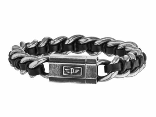 Schmuck-Armband -Shock II- Edelstahl antik-schwarz mit Ledereinlage Magnet-Verschluss von POLICE - Bandlänge ca. 22cm - Bild vergrößern