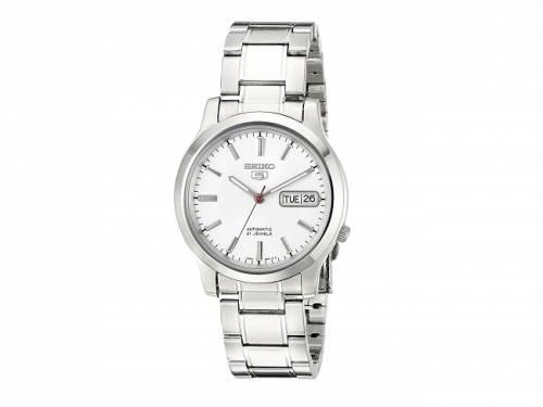 Automatik-Armbanduhr klein Edelstahl silberfarben Ziffernblatt weiß von SEIKO 5 (*SE*AU*) - Bild vergrößern