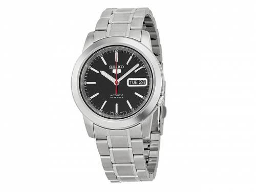 Automatik-Armbanduhr Edelstahl silberfarben Ziffernblatt schwarz von SEIKO (*SE*AU*) - Bild vergrößern