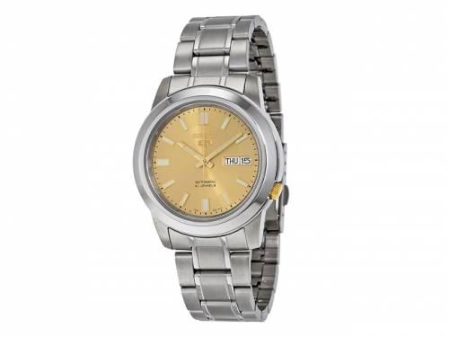 Automatik-Armbanduhr Edelstahl silberfarben Ziffernblatt goldfarben von SEIKO (*SE*AU*) - Bild vergrößern