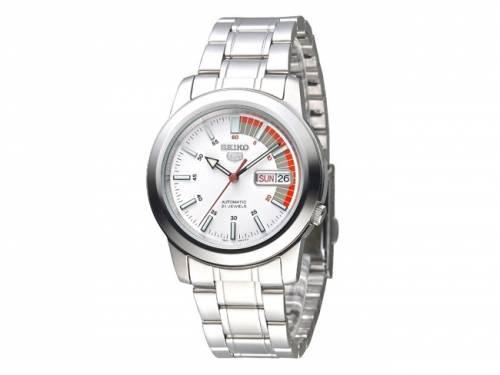 Automatik-Armbanduhr Edelstahl silberfarben Ziffernblatt weiß/orange/grau von SEIKO (*SE*AU*) - Bild vergrößern