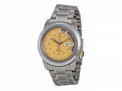 Automatik-Armbanduhr Edelstahl silberfarben Ziffernblatt goldfarben/blau von SEIKO (*SE*AU*) - Bild vergrößern