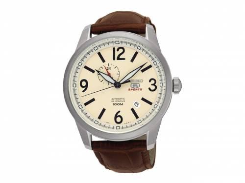 Automatik-Armbanduhr Edelstahl silberfarben Ziffernblatt beige von SEIKO 5 (*SE*HU*) - Bild vergrößern