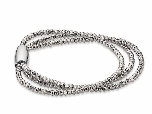 Schmuck-Armband Kristall silber-grau 3-reihig Verschluß Edelstahl magnetisch silberfarben von CEM - Bandlänge ca. 18,5cm - Bild vergrößern