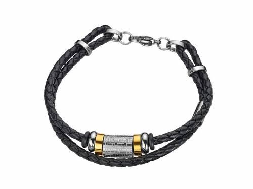 Schmuck-Armband schwarz Leder/Edelstahl bicolor 2-reihig Verschluß Edelstahl silberfarben von CEM - Bandlänge ca. 21cm - Bild vergrößern
