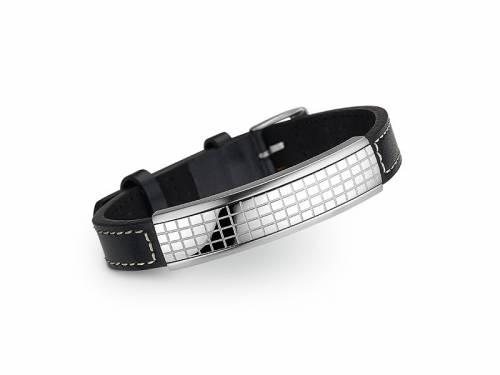 Schmuck-Armband schwarz Leder/Edelstahl Verschluß Edelstahl silberfarben von CEM - Bandlänge ca. bis 21,5cm - Bild vergrößern