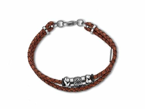 Schmuck-Armband braun Leder/Edelstahl 2-reihig Verschluß Edelstahl silberfarben von CEM - Bandlänge ca. 21cm - Bild vergrößern