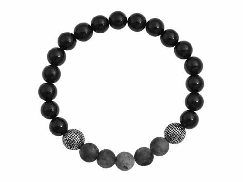 Schmuck-Armband Zugband Onyx/Termolit/Edelstahl schwarz/anthrazit/silberfarben - Bandlänge ca. 17cm - Bild vergrößern