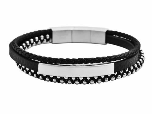 Schmuck-Armband schwarz/silberfarben Leder/Edelstahl/Textil Magnetverschluß silberfarben - Bandlänge ca. 20cm - 21cm - Bild vergrößern