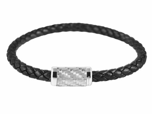 Schmuck-Armband schwarz Leder Magnetverschluß silberfarben - Bandlänge ca. 22,5cm - Bild vergrößern
