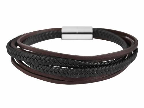 Schmuck-Armband schwarz/dunkelbraun Leder Magnetverschluß Edelstahl silberfarben - Bandlänge ca. 21,5cm - Bild vergrößern