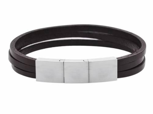 Schmuck-Armband dunkelbraun Leder Magnetverschluß silberfarben - Bandlänge ca. 20,5cm - 21,5cm - Bild vergrößern