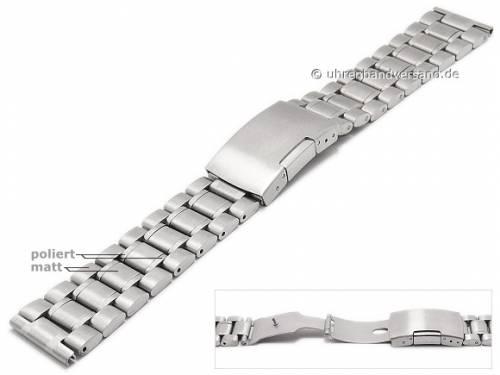 Uhrenarmband 24mm Edelstahl massiv teilweise poliert mit Faltschließe - Bild vergrößern