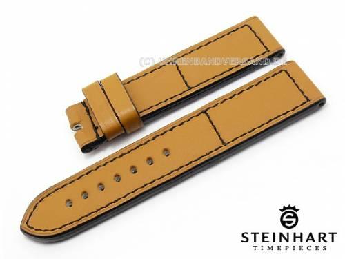 ABVERKAUF: Uhrenarmband 24mm hellbraun Kalbsleder glatt schwarze Naht von STEINHART (Schließenanstoß 24 mm) - Bild vergrößern