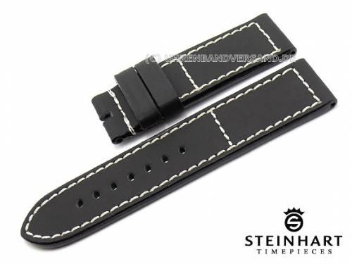 ABVERKAUF: Uhrenarmband 24mm schwarz Kautschukbeschichtung weiße Naht STEINHART (Schließenanstoß 24 mm) - Bild vergrößern