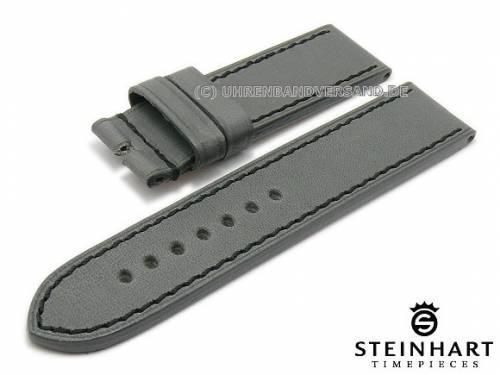 ABVERKAUF: Uhrenarmband 24mm grau Juchtenleder schwarze Naht von STEINHART (Schließenanstoß 24 mm) - Bild vergrößern