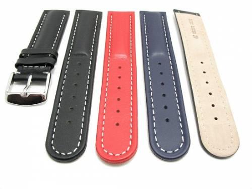 10er-Set Uhrenarmbänder SPORT 18 - 24mm schwarz, dunkelblau oder rot, weiße Naht Wulst - Bild vergrößern