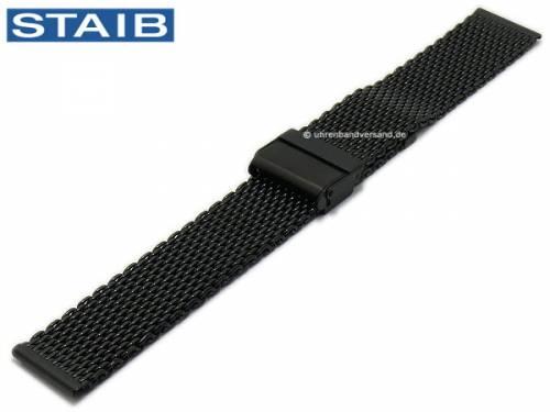 Uhrenarmband 22mm schwarz Milanaise poliert mittelschweres Geflecht mit Sicherheits-Schiebeverschluß von STAIB - Bild vergrößern