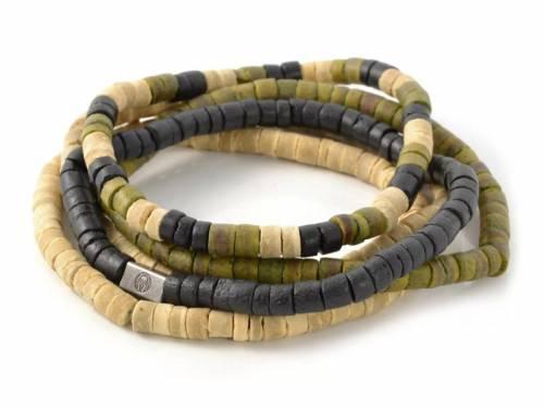 (Schmuck-) Armband-Set 5-teilig Kokosnuss grün/beige/schwarz von LUCLEON - Bandlänge ca. 20cm - Bild vergrößern