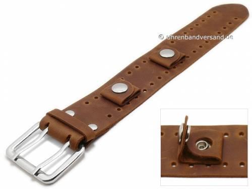 Uhrenarmband 20mm mittelbraun Leder Antik-Look Unterlagenband Doppel-Dornschließe - Bild vergrößern