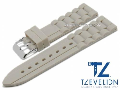 Basic Uhrenarmband 24mm grau Silikon Metallband-Look matt von TZEVELION (Schließenanstoß 22 mm) - Bild vergrößern