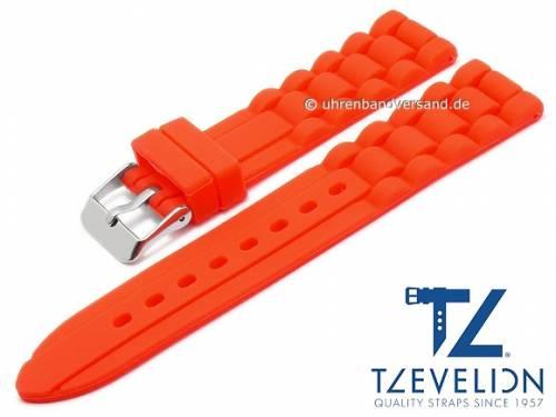Basic Uhrenarmband 20mm rot Silikon Metallband-Look matt von TZEVELION (Schließenanstoß 18 mm) - Bild vergrößern