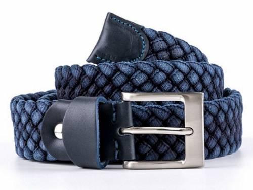 Gürtel HANDMADE IN EUROPE dunkelblau Baumwollgewebe von Tzevelion - Größe 100 (Breite ca. 3,5 cm) - Bild vergrößern