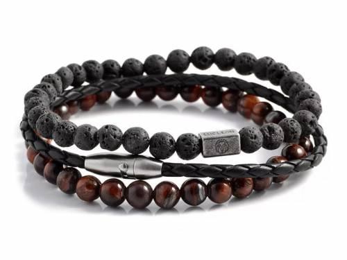 (Schmuck-) Armband-Set 3-teilig Leder-Lava-Tigerauge schwarz/rotbraun von LUCLEON - Bandlänge ca. 21cm - Bild vergrößern