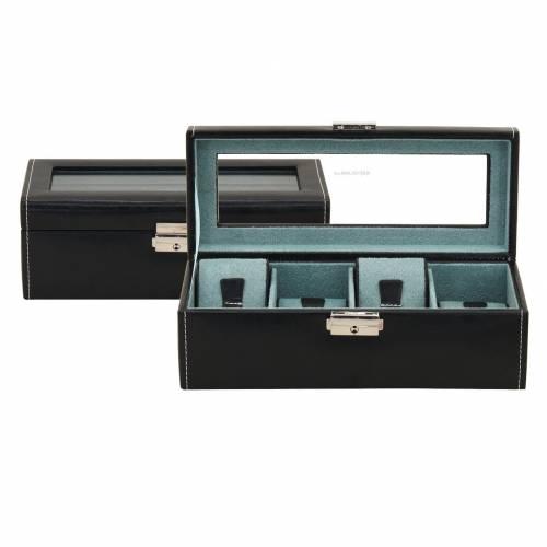 Uhrenkasten -Bond- schwarz Feinsynthetik glatt für bis zu 4 Armbanduhren mit Sichtfenster - Bild vergrößern