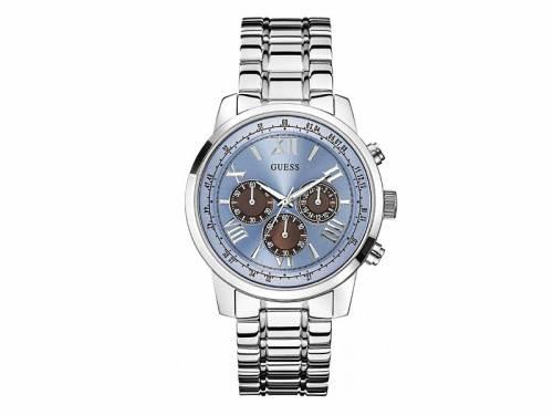 Chronograph -Horizon- Edelstahl silberfarben Ziffernblatt hellblau von GUESS (*GS*HU*) - Bild vergrößern