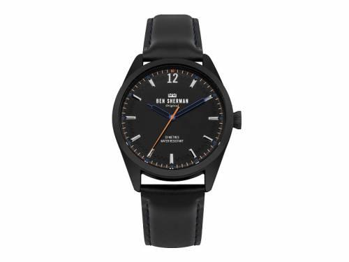 Armbanduhr schwarz Ziffernblatt schwarz Lederband in schwarz von Ben Sherman (*BE*HU*) - Bild vergrößern
