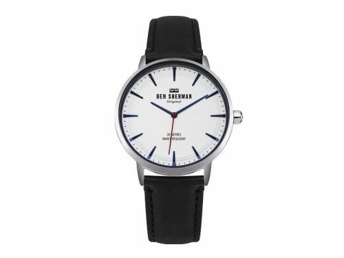 Armbanduhr silberfarben Ziffernblatt weiß Lederband in schwarz von Ben Sherman (*BE*HU*) - Bild vergrößern