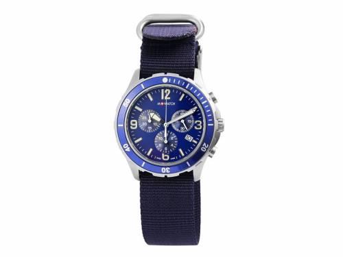 Sportiver Chronograph Edelstahl silberfarben Ziffernblatt dunkelblau Swiss Made von M-Watch by Mondaine (*MD*HU*) - Bild vergrößern