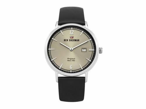 Armbanduhr Edelstahl silberfarben Ziffernblatt silberfarben Lederband in schwarz von Ben Sherman (*BE*HU*) - Bild vergrößern