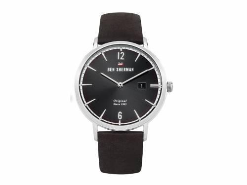 Armbanduhr Edelstahl silberfarben Ziffernblatt schwarz Lederband in dunkelbraun von Ben Sherman (*BE*HU*) - Bild vergrößern