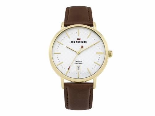 Armbanduhr Edelstahl goldfarben Ziffernblatt weiß Lederband in hellbraun von Ben Sherman (*BE*HU*) - Bild vergrößern