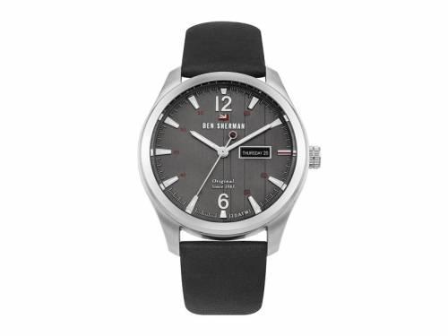 Armbanduhr Edelstahl silberfarben Ziffernblatt anthrazit Lederband in schwarz von Ben Sherman (*BE*HU*) - Bild vergrößern