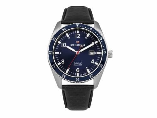 Armbanduhr Edelstahl silberfarben Ziffernblatt blau Lederband in schwarz von Ben Sherman (*BE*HU*) - Bild vergrößern